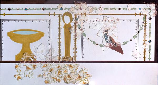 Muurschildering met pauw uit luxewoning.