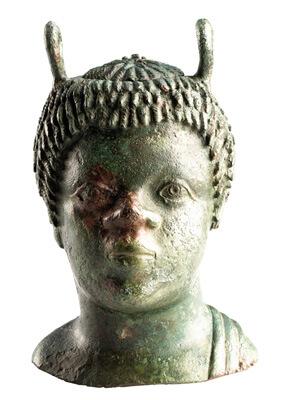 Balsamarium, badflesje in de vorm van een buste van een zwarte man.